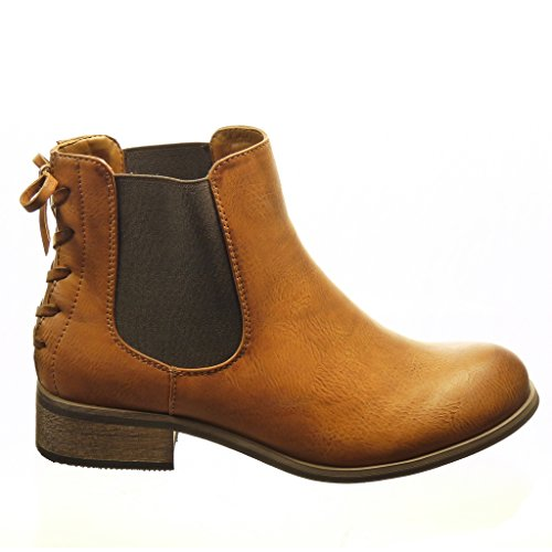 Angkorly Damen Schuhe Stiefeletten - Chelsea Boots - Knoten - Spitze Blockabsatz 3 cm Camel