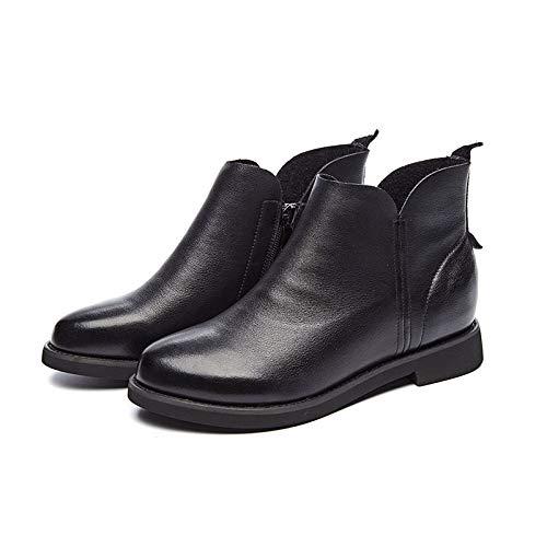 Lianaii Damen Stiefel Herbst Und Winter Stiefel Leder Handgemachte Handgemachte Handgemachte Schuhe Single-Layer-Damenschuhe Flache Martin Stiefel 0c3941