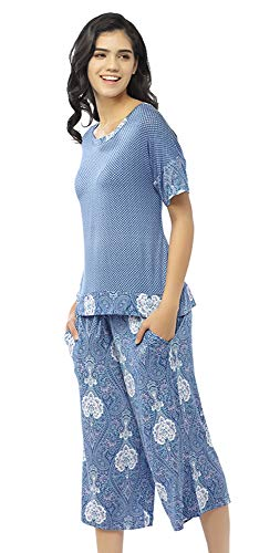 Summer Pajamas for Women - Stylish Print Ladies Pajama Set, Oversized Shirt Capri Lounge Pants, Dusty Blue ()