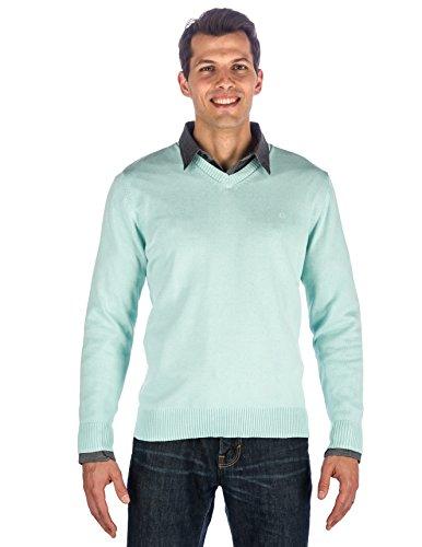 - Men's 100% Cotton V-Neck Essential Sweater - Aqua - Large