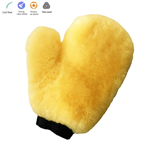 OKAYDA Sheepskin Car Wash Mitts Super Soft, High Density, No Scratch and Lint Free Reusable 100% Natural Lambs Wool Wash & Wax Mitten with Thumb Design for Auto Beige Single