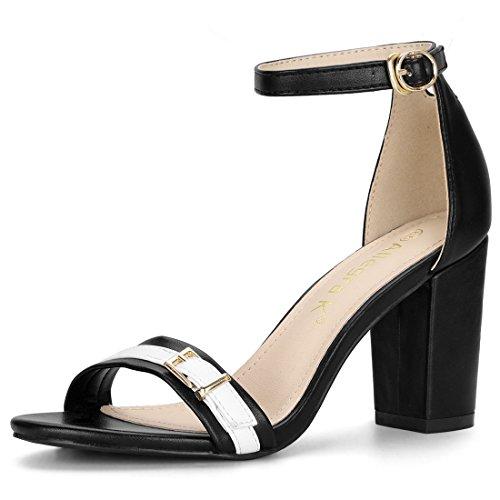 Allegra K Women's Ankle Strap Chunky Heel Black Sandals - 9 M -