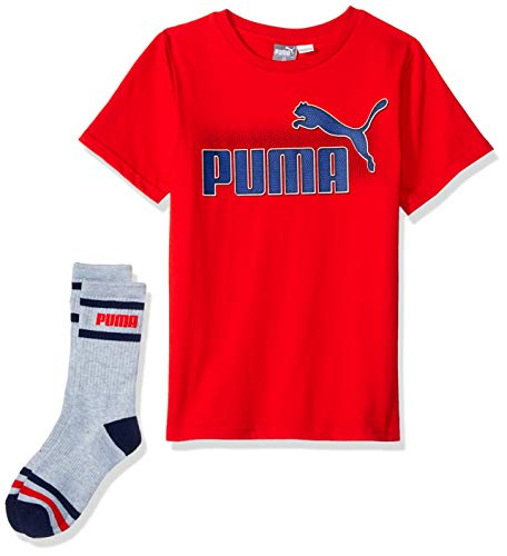 (PUMA Big Boys' T-Shirt & Sock Set, High Risk Red Medium (10/12))