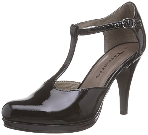 Tamaris 24428, Women's T-Bar Court Shoes Black (Black Patent 018)