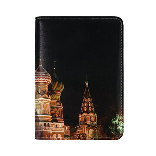 City Night Church Lights Leather Passport Holder Cover Case Travel One Pocket by Jimo