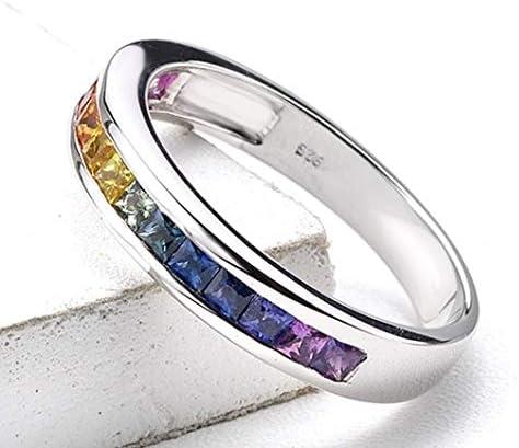 Equalli LGBT Rainbow Pride Collection Anillos de plata de ley con zafiro arcoíris para gays y lesbianas Multicolor: Amazon.es: Joyería