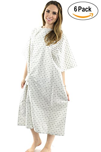Hospital Gown (6 Pack) Cotton Blend , Useful, Fashionable Patient Gowns, Back Tie, 46'' Long & 66'' Wide, Fits All Sizes to 2xL Sizes Fit Comfortably - Hospital Gown (6 Pack) by Magnus Care (Image #6)