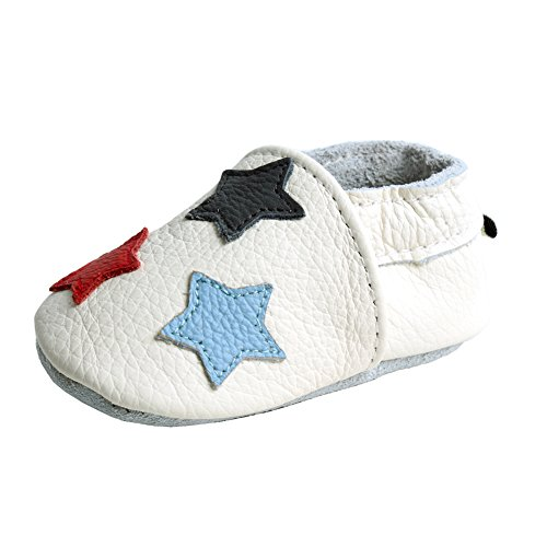 iEvolve Stars Baby Shoes Baby Toddler Soft Sole Prewalker First Walker Crib Shoes Baby Moccasins(White, 12-18 Months)
