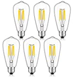 CRLight 4W Dimmable LED Filament Bulb 40W Equivalent Daylight (Neutral White)4000K Glow, E26 Medium Base ST64 Vintage Edison Light Bulbs, 360 Degrees Beam Angle, Pack of 6
