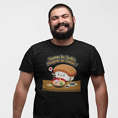 OKIWOKI T-Shirt Noir Funny parodique Humoristique Collection Humour et Japan Sauvons Les Sushis !! Parodie Funny