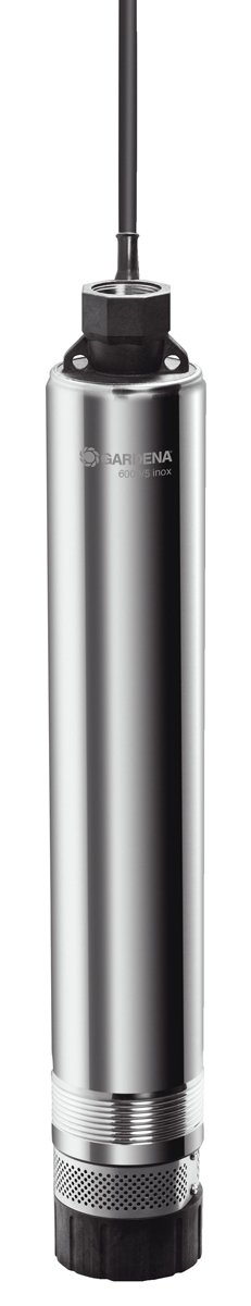 Gardena 1492-20 Premium Tiefbrunnenpumpe 6000/5 inox; Gehäuse Edelstahl; mit Standfuß (Motorleistung: 950 W; Fördermenge: 6000 l/h; Förderhöhe: 50 m, Druck 5 bar)