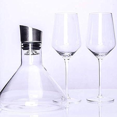 Tcbz Juego de Jarra de Vino, 1500 ml, 100% Jarra de Vino de Cristal soplado a Mano sin Plomo con Copa de Vino Tinto, Regalo de Vino, Accesorios para Vino