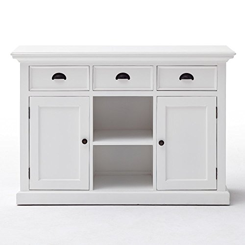 NovaSolo Halifax pure white Mahogany wood sideboard dining buffet with storage, 3 drawers and 2 rattan baskets (Mahogany Buffet Sideboard)