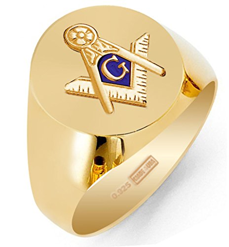 Solid Mens Back Ring Masonic - US Jewels And Gems Customizable Solid Back Men's Gold Vermeil Masonic Blue Lodge Ring, Size 14