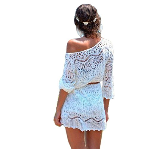 Dresses, Toraway Fashion Women Hollow Out White Lace Beach Dresses With Belt (Small, White) (White Dress For Teenager)