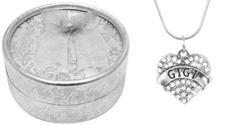 [Mother's Day Gift Best Gigi Ever Poem Boxed Jewelry Gift Set Engraved Pendant Necklace Jewelry For Gigi Crystal Adorned Heart Shaped Pendant Snake Chain Necklace Gift Box for Gigi Grandma] (Bollywood Costumes For Men)