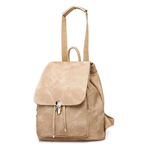 Dammode PU-läder ryggsäck retro axelväskor 3-vägs högskola ryggsäck flickor skolväska resa skolväskor (färg: svart)