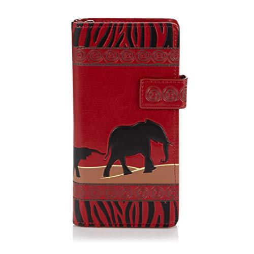 Safaei Elefanti Turchese Donne Giovani Purse Safari Portafoglio Rosso Per Shagwear Elephant amore Pattern Vintage Large Love w0TPqx