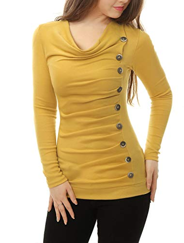 - Allegra K Women's Cowl Neck Long Sleeves Buttons Decor Ruched Top XS Yellow