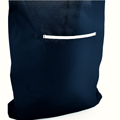 Space Saving Hanging Laundry Hamper Bag Dark Blue with Free Door Hooks - by The Fine Living Co USA by The Fine Living Company (Image #2)