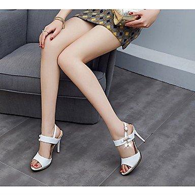 LvYuan Mujer-Tacón Stiletto-Otro Confort Innovador Talón Descubierto Gladiador Tira en el Tobillo Zapatos del club-Sandalias-Boda Oficina y White