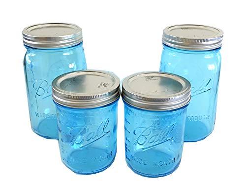 Ball Mason Jars-Two 32 oz Aqua Blue/Two 16 oz. Aqua Blue-Set of 4