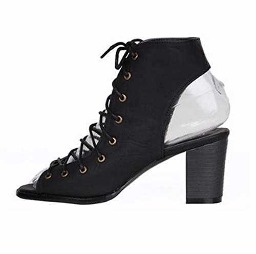 QIYUN.Z Atractivas Del Verano Nuevas Mujeres Hueco De Encaje Hasta Las Sandalias De Punta Abierta Bloque Ocasional Zapatos Con Tacones Negro