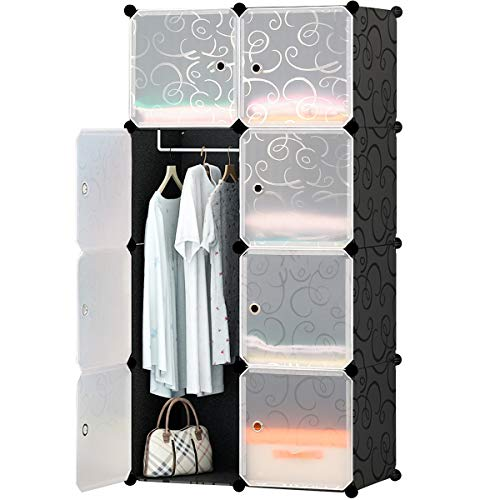 KOUSI Portable Closet Clothes Wardrobe Bedroom Armoire Storage Organizer with Doors, Capacious & Sturdy, Black, 5 Cubes+1 Hanging Sections by KOUSI