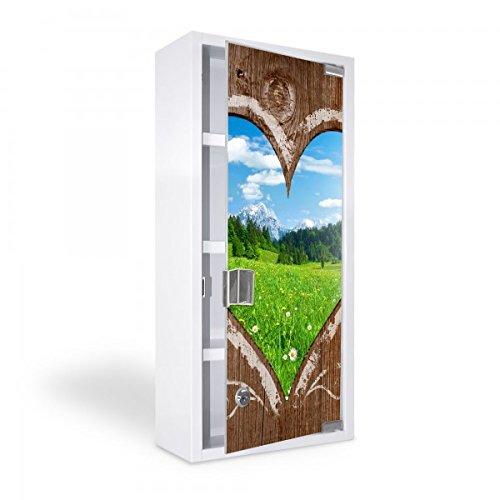 banjado - Medizinschrank 27x57x12cm Erste Hilfe Arzneischrank weiß Edelstahl Medikamentenschrank Glastür Ausblick mit Herz
