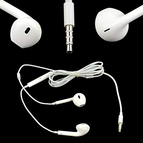 Meflying 1PCS Headset Earphone With Mic Volume Adjustable For Apple iPhone 5 5S 4 4S 3G- White