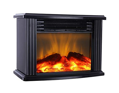 "DONYER POWER 14"" Mini Electric Fireplace Tabletop Portable Heater, 1500W, Black Metal Frame,Room Heater,Space Heater"