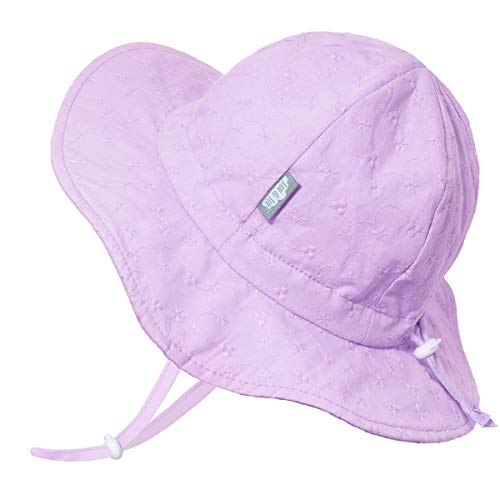 - Baby Girl Cotton Sun Hat 50 UPF, Adjustable Good Fit, Stay-on Tie (S: 0-6m, Lavender Eyelet)