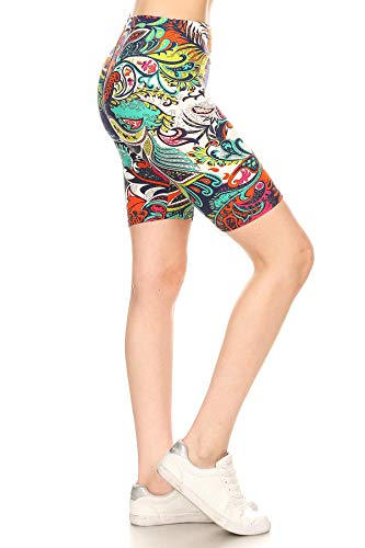 Leggings Depot LBK-F252-S Lush Garden Printed Biker Shorts, Small