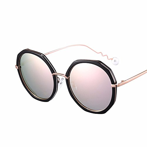 de cara Pearl big Gafas sol la sol de Rosa delgada XIAOGEGE de moda gafas alto redonda brillo box plata Zq4w7