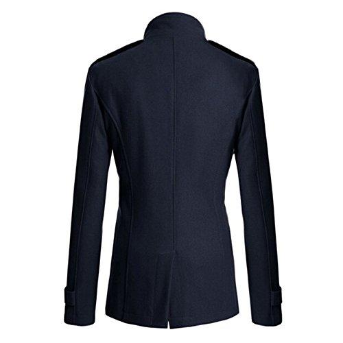 SODIAL(R) Manteau des hommes coupe ajustee longue Hommes hiver chaud double boutonnage Caban Manteau Blouson bleu marin -L