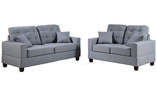 Poundex F7858 Bobkona Aria Linen-Like 2 Piece Sofa and Loveseat Set, Grey (Poundex Loveseat Set)
