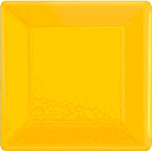 Dessert Plates Square 7 (Amscan Disposable Square Party Dessert Plates Tableware, Yellow Sunshine, Paper , 7