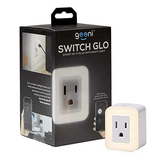Geeni GN-WW109-199 Switch Glo Smart WiFi Square Plug with Nightlight, White