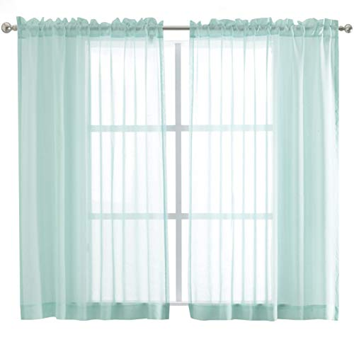 FLOWEROOM Sheer Curtains Rod Pocket - Faux Linen Voile Curtain Panels for Living Room, Aqua, 55 x 63 inch, 2 (Voile Curtain Panel)