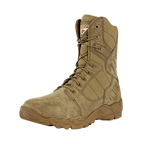 CONDOR Men's Richards Zip 9'' Tactical Waterproof Boots, Brown Leather, Nylon Fabric, 9 E 9' Leather Combat Boot