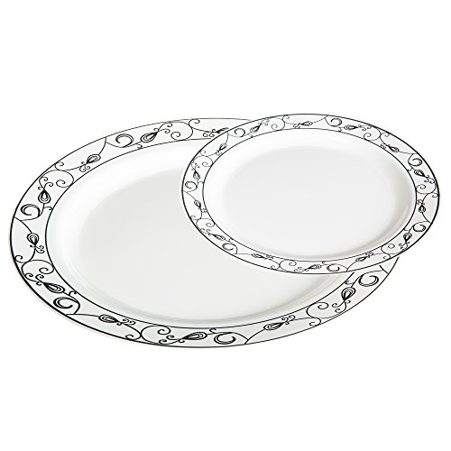 Premium 50 Pack White with Silver Scroll Plastic Plates - Includes 25 Dinner Plates and 25 Salad Plates by Alpha & Sigma