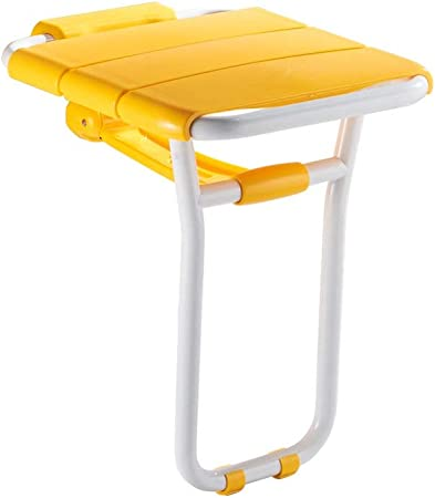 Beauty Shower Bench Folding Bath Stool Bathroom Leg Seat Elderly Bath Wall Chair Color : Yellow Rust and Pressure Resistance Painted Steel Pipe