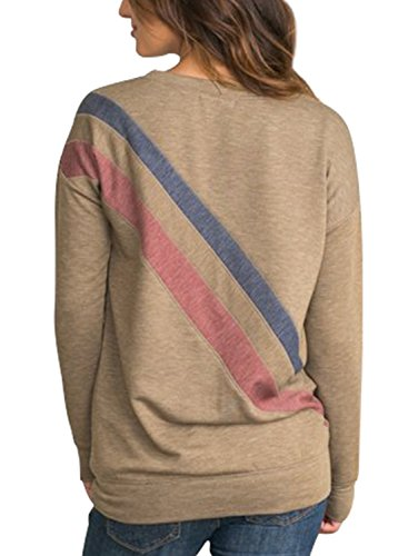 - Dokotoo Womens Ladies Fall Crewneck Casual Long Sleeve Athletic Stripe Color Block Tunics Sweatshirt Pullover Blouses T Shirt Tops Olive XX-Large