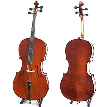 Cecilio CCO-500 Ebony Fitted Flamed Solid Wood Cello with Hard & Soft Case, Stand, Bow, Rosin, Bridge and Extra Set of Strings, Size 4/4 (Full Size)