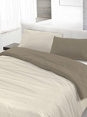 Copripiumino Matrimoniale Grigio.Italian Bed Linen Set Copripiumino Matrimoniale Grigio Panna 250 X