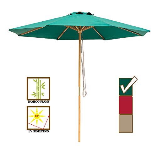 SUNBRANO 9ft Bamboo Outdoor Patio Umbrella Market Backyard Table Umbrella Pulley Lift, 8 Ribs, Green