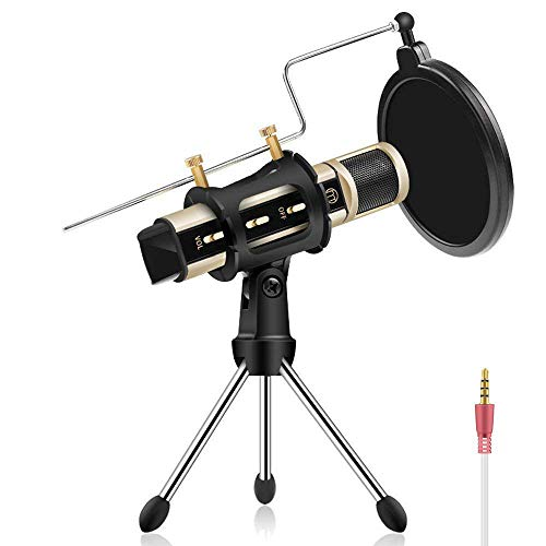 Studio Recording Microphone, ZealSound Condenser Broadcast Microphone w/Stand Built-in Sound Card Echo Recording Karaoke Singing for Phone Computer PC Garageband Smule Live Stream & Youtube (Gold)