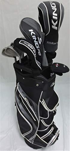 Cobra Golf Mens King Set Driver, Wood, Hybrid, Irons, Putter, Clubs, Complete Cart Bag Stiff Flex (King Cobra Oversize 3 Iron)