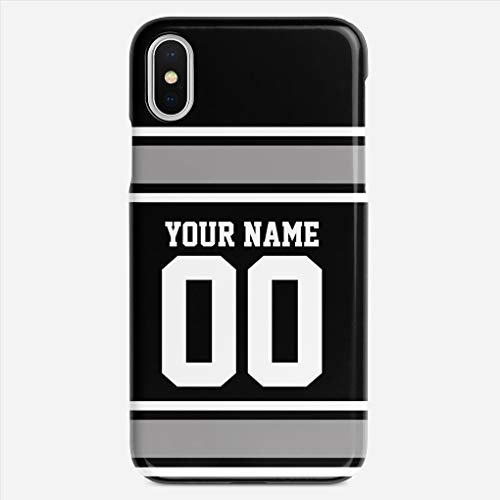 BEETLE CASE Compatible with iPhone X case Football Jersey Black Silver Personalize Unique Pattern Design Slim Fit Shell Hard Plastic Full Protective Anti-Scratch Resistant Cover (Co Silver Team Jerseys)