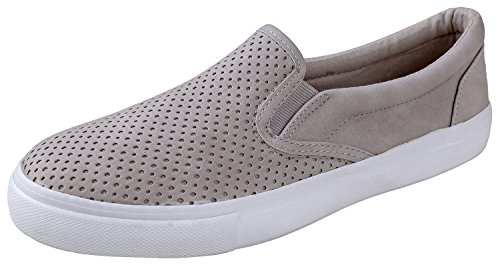 SODA IF14 Women's Perforated Slip On Elastic Panel Athletic Fashion Sneaker, Color:Clay Nubuck, Size:8